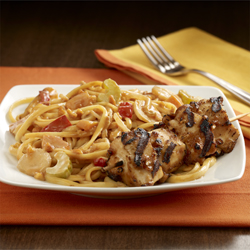 Peanut Noodles and Chicken Skewers